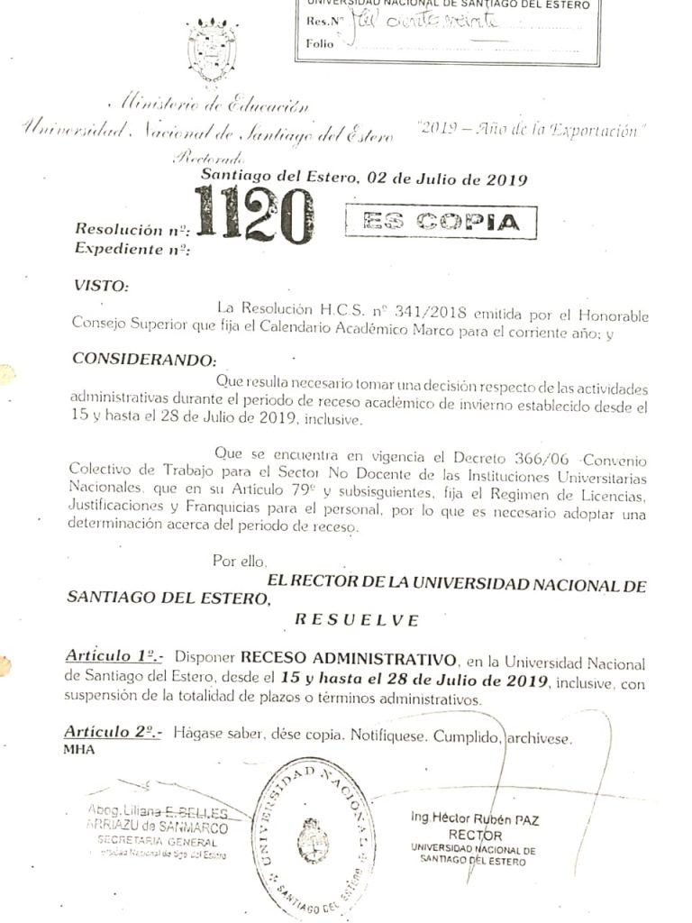 Resolución N° 1120/2019 de Receso Administrativo
